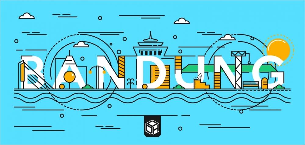 BANDUNG FLAT DESIGN TYPOGRAPHY by Adi Krisdian (adixdcx),desain karakter,seni digital,desain grafis,ilustrasi,desain interior